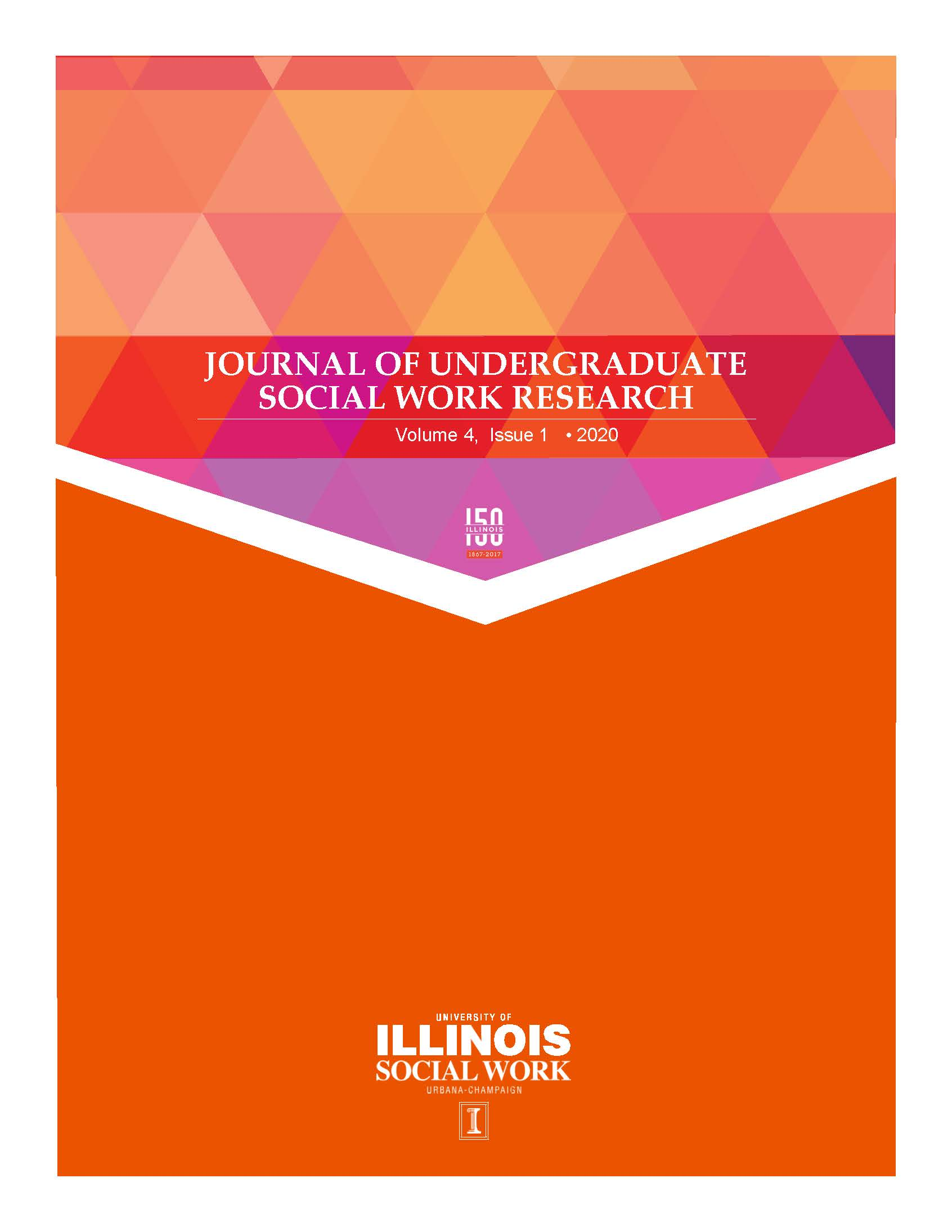 Journal of Undergraduate Social Work Research Vol 4, no. 1 cover with white font on orange background