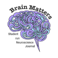 Brain Matters logo with wavy cartoon brain and the phrase student run neuroscience journal underneath